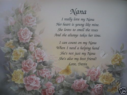NANA POEM BIRTHDAY, CHRISTMAS, MOTHERS DAY GIFTS FOR GRANDMOTHER