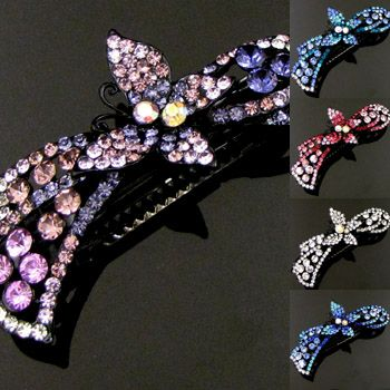 SHIPPING, 1pc rhinestone crystal butterfly hair barrette clip